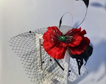 Red Poppy flower Fascinator  poppy headband Headband Evening wear Races Hair Accessory Handmade