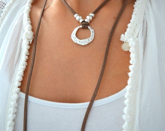 Silver HAMMERED closed RING Brown Suede Wrap Choker Necklace, Leather Tie Up Bolo Necklace, bohemian necklace, Bohemian Leather Jewelry