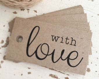 Rustic 'With Love' Favour Tags Pk10