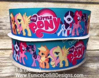 "1.5"" My little pony inspired grosgrain ribbon"