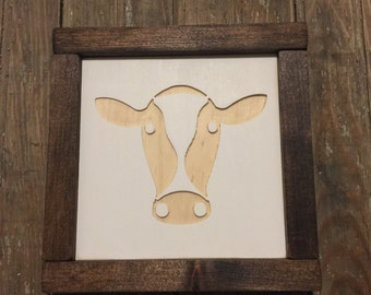 Cow Face Mini Engraved Wood Sign