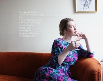 floral 60's regal lounge dress