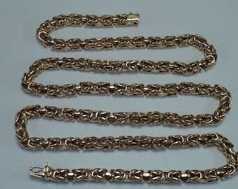 Large 49 Gram 14K Yellow Gold 32 inch, 6 mm wide Byzantine Link Chain