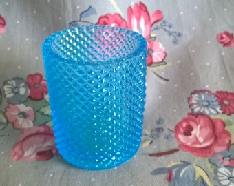 Vintage Blue Hobnail Glass Votive Holder