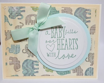 Neutral Baby Shower Card, Baby Greeting Card, Handmade Baby Card, Neutral Baby Card, Welcome Baby Card