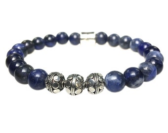 Bracelet Sodalite and Sterling Silver 417