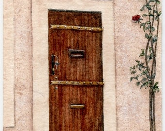 "ORIGINAL Miniature Ink and Watercolour Painting (2017) - ""Provence Door and Roses"" (South of France)/Mini Vacations Series"