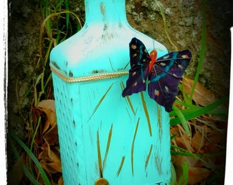 Beautiful Liquor Bottles Decor With Butterfly Accent