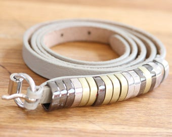 Decorative Narrow Leather belt,  Greyish White Narrow Belt with Metal Decorations