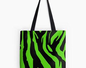 Zebra Print Tote Bag, Tote Bag, Zebra Print Bag, Zebra Print, Bright green Bag, Animal Print Tote Bag, Animal Print Bag