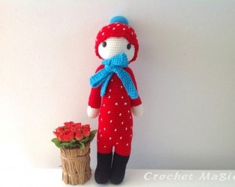 Red Lalylala with Light Blue Scarf (17-inch height), Crochet Lalylala doll, Cute Handmade Crochet doll, lalylala for Xmas, photo prop