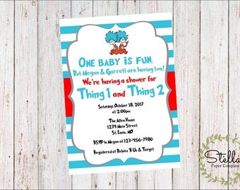Thing 1 & Thing 2, Twin Baby Shower Invitation (Digital Download)