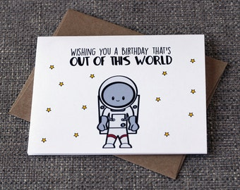 Wishing You A Birthday That's Out Of This World Cute Kid Astronaut Greeting Card