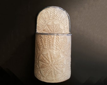 Handmade Off White and Light Blue Utensil Holder or Utensil Caddy with incised snowflake patterns