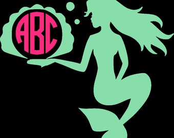Mermaid Monogram SVG EPS DXF Studio3 Cut Files
