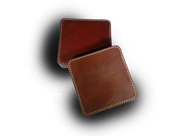 Stitched Medium Brown Square Leather Coaster Set of 4 (Engraving Available)