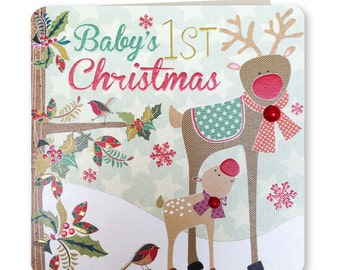 70% OFF  Further Reduction - SALE - Baby's 1st Christmas -Merry Christmas - Happy Christmas - Baby - Reindeer - Festive Folk - FE13