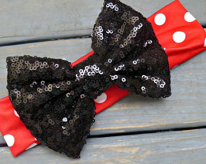Black Sequin Headband, Red and White Polka Dot Headband, Baby Girl's First Birthday Headband