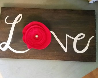 Love Wall Decor with Felt Rose