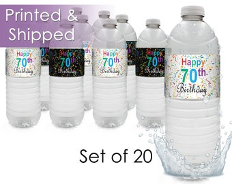 Happy 70th Birthday Water Bottle Labels - Milestone 70th Party Favors - Celebrate Turning 70 Years - 70th Decor Peel and Stick - (Set of 20)