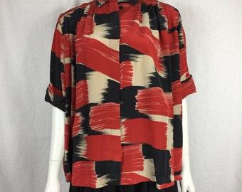 Vtg 70s 80s silk Salvatore Ferragamo loose fit button down kimono type dress blouse avant garde paint stroke