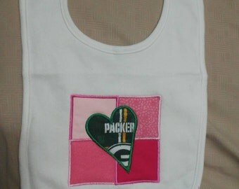 Green Gold Packer Heart Bib