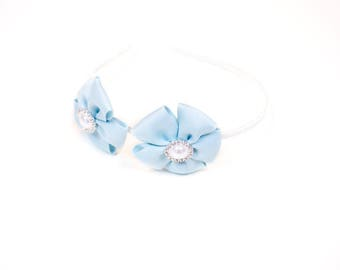 Cute Tiffany blue flower metal headband with pearls; baby hair accessories; toddler hair accessories; Tiffany accessories;