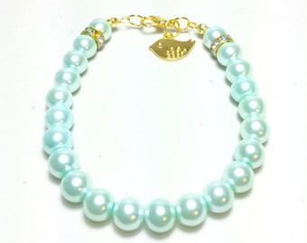 Gold Bird Charm, Gold Bird Jewelry, Gold Bird Bracelet, Gold And Blue, Blue Pearls, Blue Pearl Bracelet, Blue Pearl Jewelry, Gold Bracelets