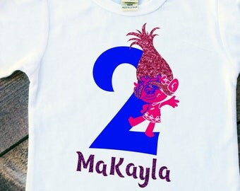 Poppy trolls girl personalized birthday shirt bodysuit tshirt numbers 1-5