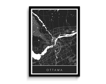 Ottawa map - Modern, detailed and original - Professional printing and fast FREE shipping
