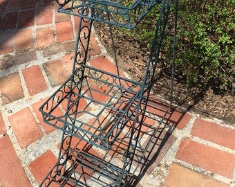 vintage wire plant stand three tiered wire plant stand blue green chippy rusty plant stand farmhouse