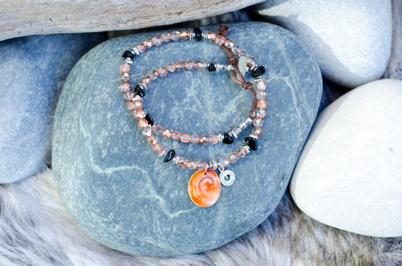Bracelets MAGDA Coral : Eye of Santa Lucia and glass beads - Double turn bracelet