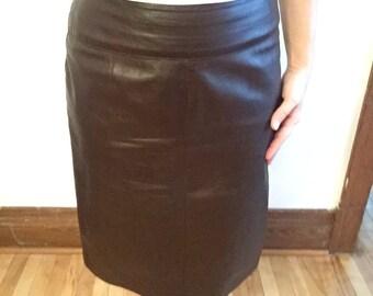 Genuine Leather Skirt - High Waist Skirt - Danier Leather - Brown Leather Skirt - Real Leather Skirt