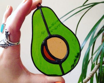 Avocado stained glass suncatcher / Avocado ornament / Food and kitchen art