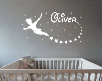 Personalized Name with Peter Pan Boy room wall decal wall mural kids children available in 7 different sizes and 30 different colors 008