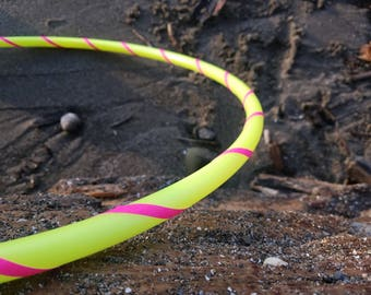 """Pre-Made 5/8"""" 20"""" ID UV Yellow Mini Hoop with Pink Gaffer Tape Permanent Connection"""