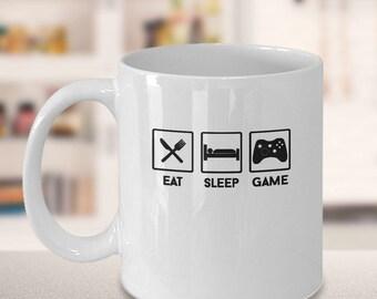 Eat Sleep Game, coffee mug,tea mug,gaming lovers gift,funny mug,xbox mug,play station mug,nintendo mug,ipad mug,computer geek mug, 11oz Mug