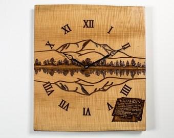 Mount Katahdin Carved on Live Edge Curly Maple Medium Wall Clock