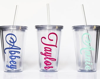 DRINKsale Personalized 16oz. Acrylic Tumblers with Lid and Straw - Vertical Name or Monogram Available in lots of fonts! Great for Summ