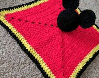 Mickey Mouse Inspired Security Blanket/Lovey