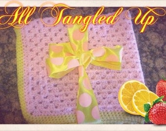Strawberry lemonade granny square baby blanket