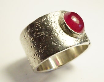 Large ring open silver forged by hand, Ruby stone - ring for wife - Design Nature and mode - R 4089