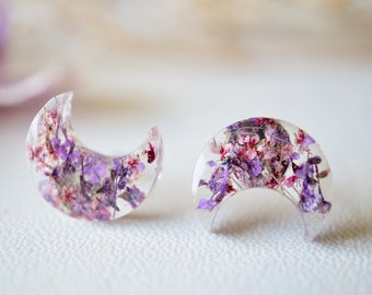 Real Dried Flowers and Resin Moon Stud Earrings in Purples