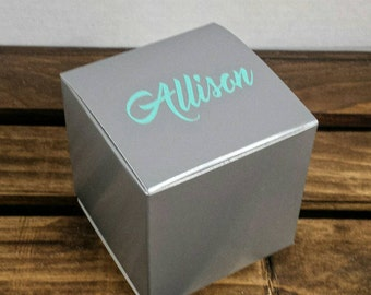Bridesmaid Gift Box, Personalized Gift Box, Party Favor, Bridal Shower Favor, Bachelorette Party, Silver Bridesmaid Gift Box, Silver Gift