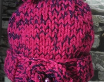 Gorgeous pink and purple handknit ladies hat