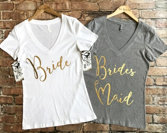 Bride Shirt. Bridesmaid Shirt. Gold Foil Bridal Party Shirts. Bridal Shower Gift. Maid of Honor Tee. Team Bride Shirt. Bachelorette Party