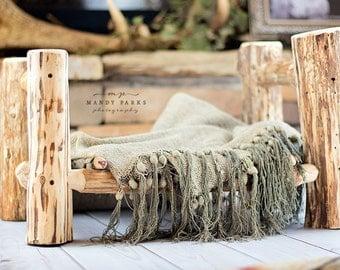 Cedar Log newborn bed prop
