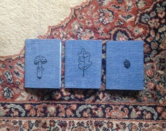 Set of Three Hand Embroidered Woodland Notebooks
