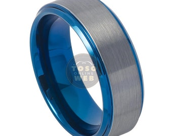 Men's 8mm Blue IP Stepped Beveled Edge Polish with Gun Metal Brushed Finish Center Tungsten Carbide Wedding Band TS7440