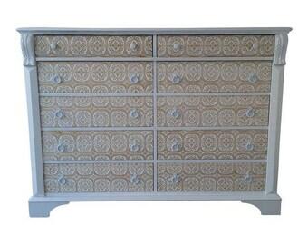 Pennsylvania House 10 Drawers Dresser, White and Gold Dresser